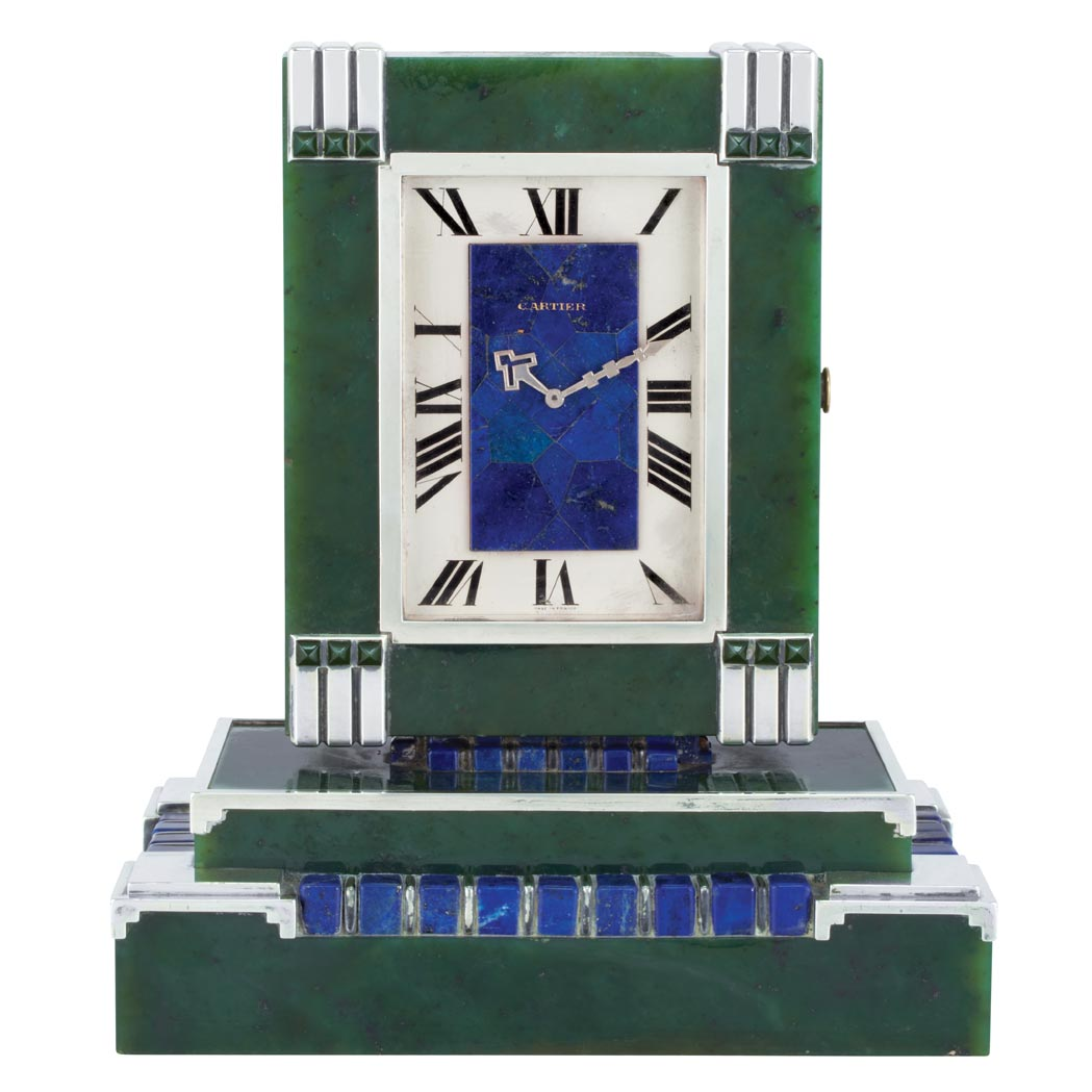 Art deco silver nephrite jade and lapis dual dial for Deco francaise