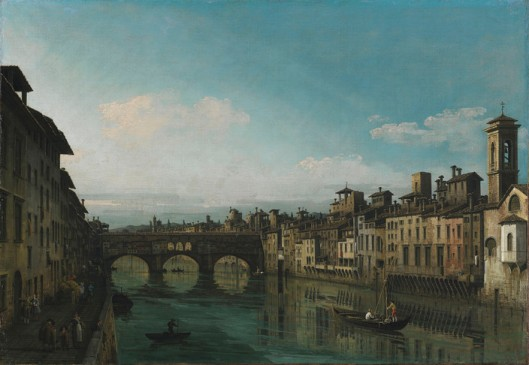The Arno in Florence with the Ponte Vecchio, by Bernardo Bellotto