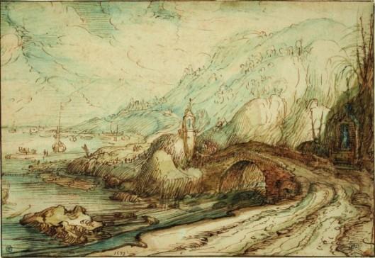 Cornelis Claesz. van Wieringen, Paysage montueux avec chapelle et pont au bord d'un fleuve, Plume et encre brune, lavis brun et brun rougeâtre, gris et bleu. Encadré par quatre lignes à la plume et encre brune