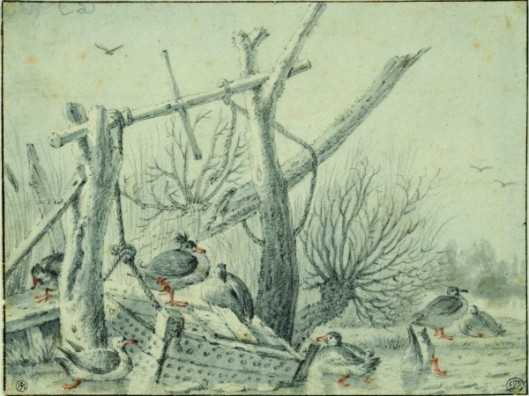Cornelis Saftleven, Paysage d'hiver aux canards et caisse à poissons, Pierre noire et lavis gris, rehauts à la sanguine. Encadré de quatre lignes à la plume et encre brune.