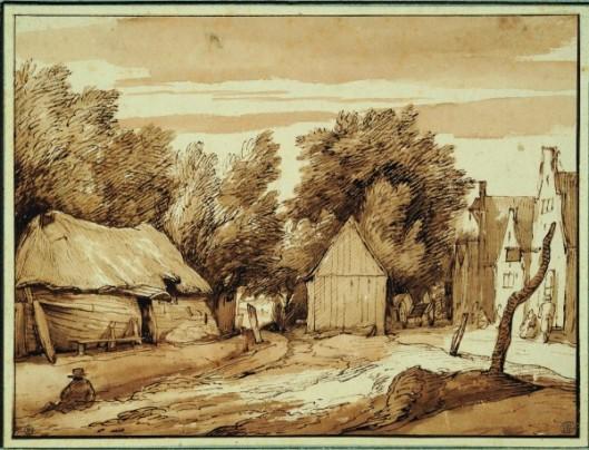 Jacob Esselens, Vue de l'entrée d'un village, Plume et encre brune, lavis brun. Encadré par quatre lignes à la plume et encre brun foncé.