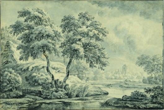 Jan van Kessel, Chaumière derrière un talus au bord d'un canal sinueux, 1665, Pointe de pinceau et encre noire et grise, lavis gris sur quelques traits à la pierre noire (à peine visibles)