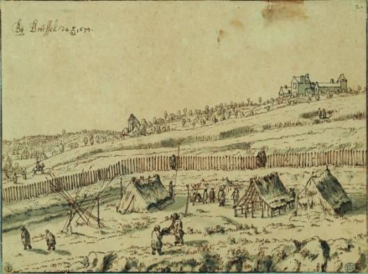 Josua de Grave, Campement d'infanterie près de Bruxelles, 1674, Plume et encre brune, lavis gris. Encadré par quatre lignes à la plume et encre brune