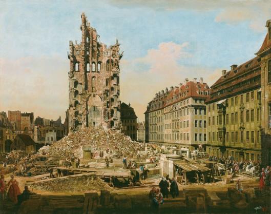 Bernardo Bellotto: Die Ruinen der Kreuzkirche in Dresden, 1765