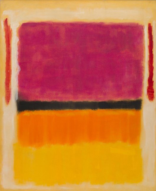 Untitled (Voilet, Black, Orange, Yellow on White and Red)