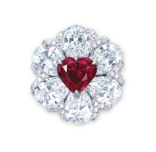 a stunning heartshaped fancy red diamond and diamond ring
