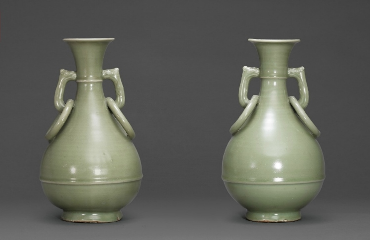 A Large Pair Of Longquan Celadon Bottle Vases Ming Dynasty 16th