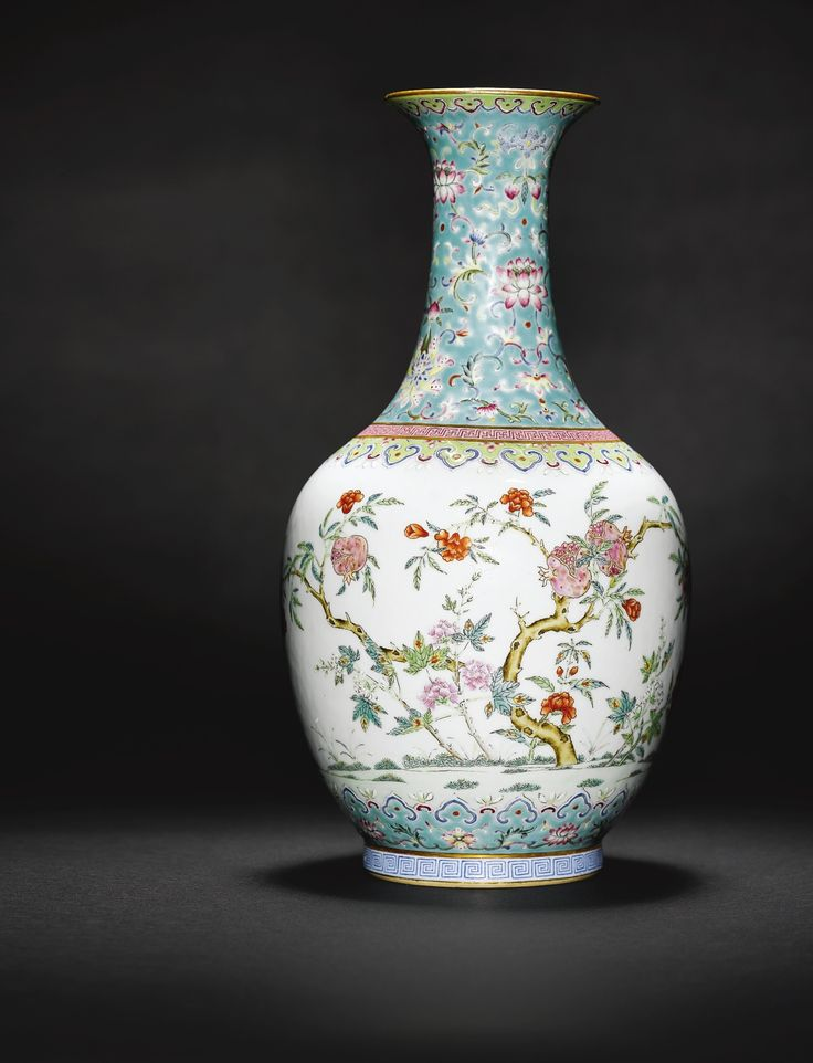 A Turquoise Ground Famille Rose Vase Daoguang Seal Mark And Period