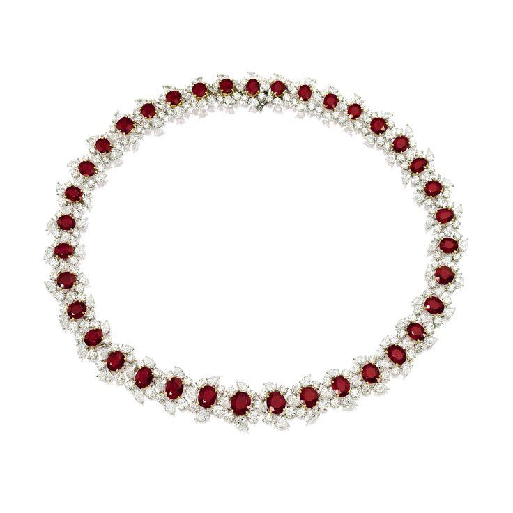 Burmese Ruby and Diamond Necklace   Alain R Truong