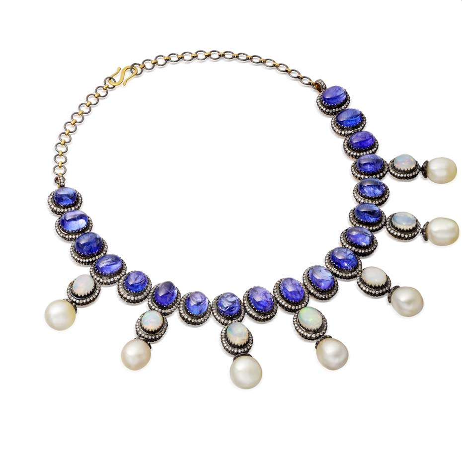 Amrapali Cabochon Tanzanite Necklace With Pearls And Opals