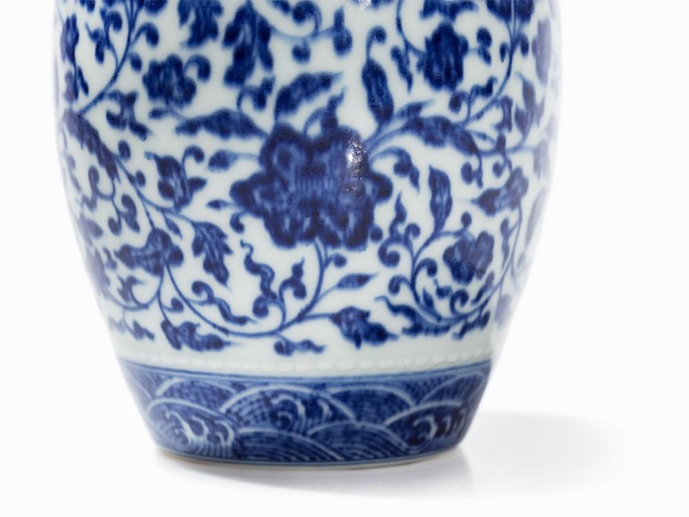Rare Blue And White Ming Style Barrel Shaped Jar China