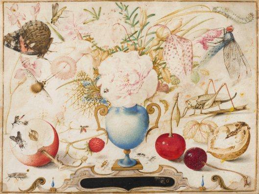 Jacob Hoefnagel, Bloemenvaas omgeven door vruchten en insekten