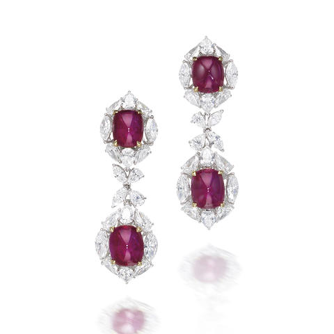 A pair of ruby and diamond earrings, by Harry Winston