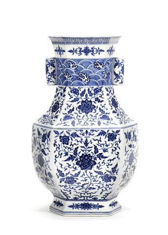 A rare and large Ming-style blue and white hexagonal vase