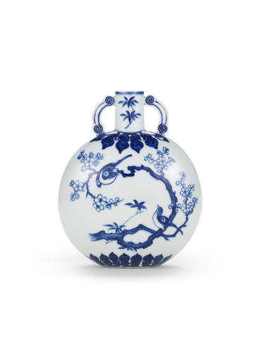 A rare small Ming-style blue and white moonflask, bianhu