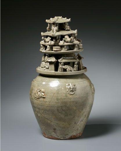 A Yueyao Glazed Funerary Jar. Western Jin Dynasty, 265 – 316 AD