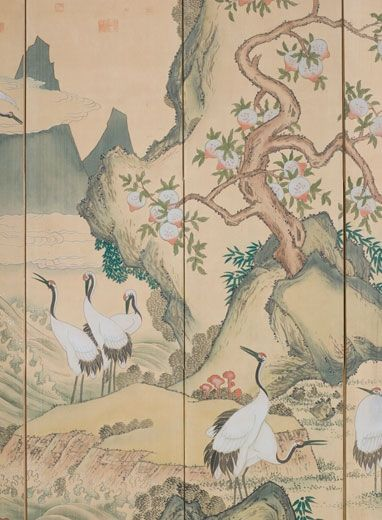 Anonymous. Cranes Gathering in Daoist Western Paradise. Korea, Annexation Period (1910-45)
