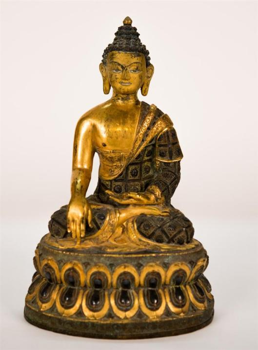 Chinese Gilt and Patinated Bronze Figured of Buddha Seated on a Double Lotus