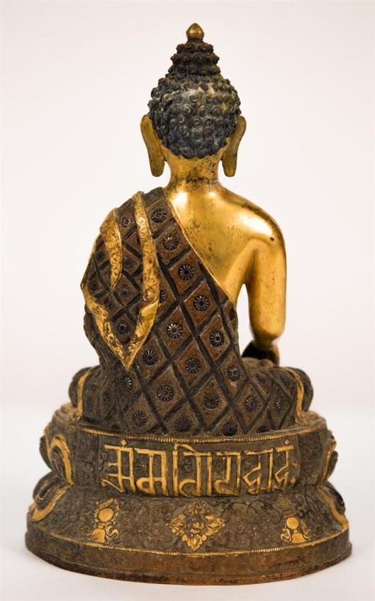 Chinese Gilt and Patinated Bronze Figured of Buddha Seated on a Double Lotus2