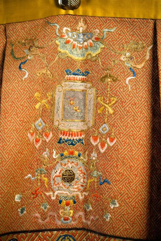 Chinese Silk Needlework Hanging Panel, 18th-19th century7