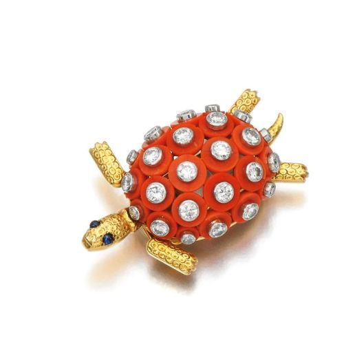 Coral and diamond brooch, Cartier, 1960s