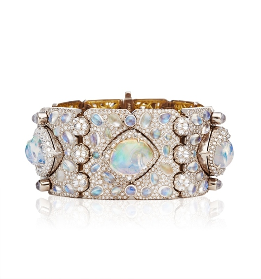 Diamond-Moonstone-Fire-Opal-And-Gold-Ventoux-Bracelet-Cuff