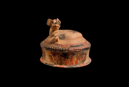 Dog Effigy Vessel with Removable lid section, Maya polychromed ceramic