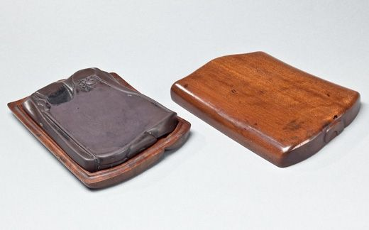 Duan inkstone contained within a nanmu box. China, Qing dynasty