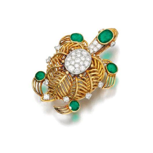 Emerald and diamond brooch, Cartier, 1950s