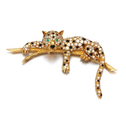 Emerald, onyx and diamond brooch, Van Cleef & Arpels
