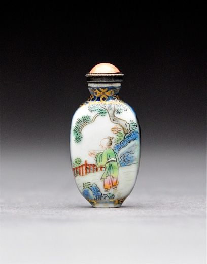 Famille Rose Snuff Bottle. China, Qianlong Mark and Period