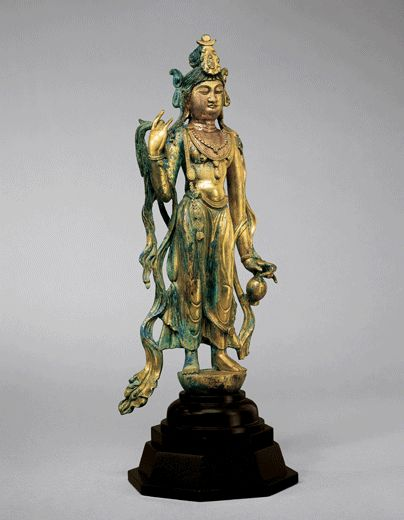 Gilt Bronze Figure of the Bodhisattva Guanyin. China, Tang Dynasty
