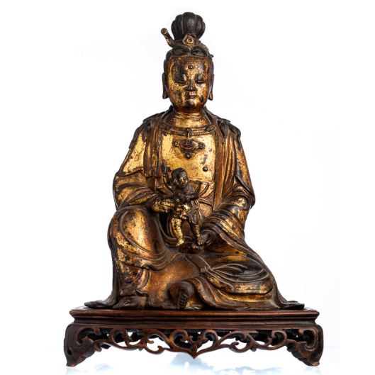 Guanyin in gilded bronze,Ming Dynasty (1368-1644)1