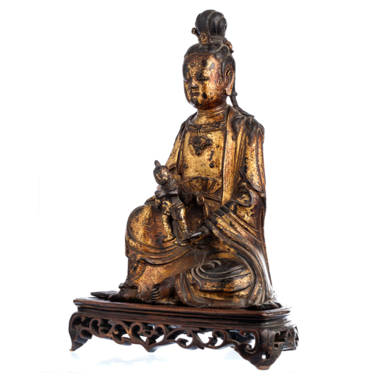 Guanyin in gilded bronze,Ming Dynasty (1368-1644)3