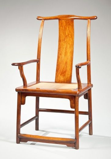 Huanghuali yoke back armchair with a backward sloping yoke. China, Late Ming dynasty