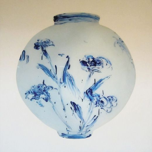 Ik-Joong Kang. Blue Chrysanthemum Moon Jar. Korea, 2011