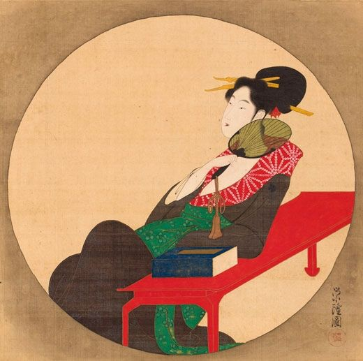 Katsudô Eiryrû (act. 1790s). Ensô Bijin. Japan, Edo Period (1615-1868), 1790s