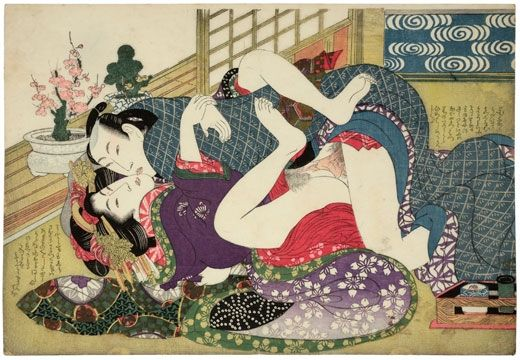 Kikugawa Eizan (1787-1867). Young Lovers at the New Year, from the series Selections from the Brocade Quarters (E-awase Kinkaisho). Japan, circa 1815