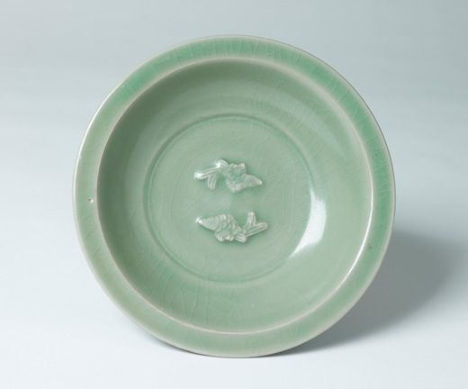 Large Longquan Celadon Twin Fish Bowl. China, Southern Song–Yuan Dynasty
