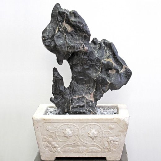 Lingbi Scholar Rock with Carved Marble Base. China, Ming dynasty