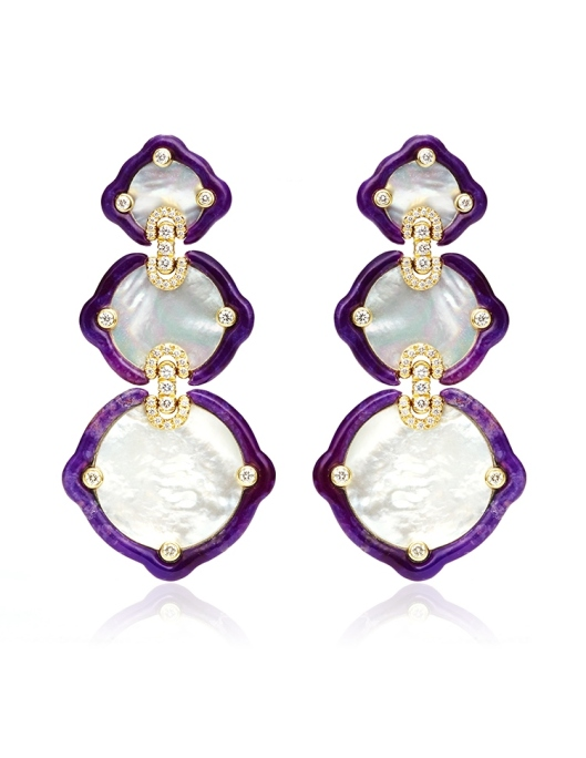 Mother-Of-Pearl-Sugalite-And-Diamond-Gold-Earrings