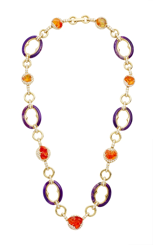 Nicholas Varney 18K Gold, Colorless Diamond, Fire Opal And Sugalite Deco Necklace