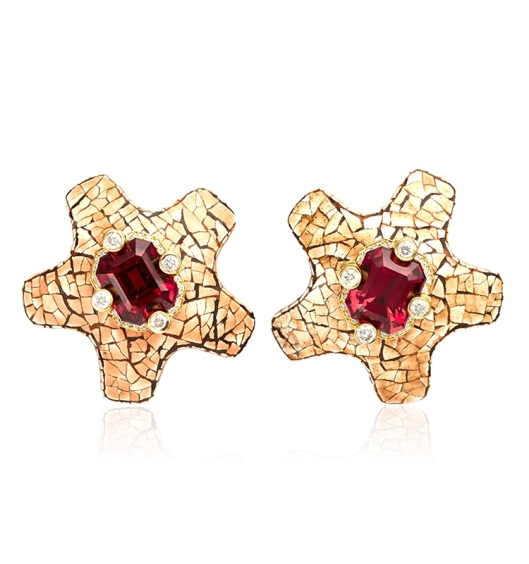 Nicholas Varney Pink Tourmaline, Diamond, Gold, Mammoth Ivory And Coquille D'Oeuf Ear Clips