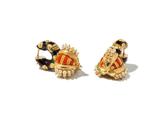 Otto Akob. Gold Coral and Pearl Earrings Shells
