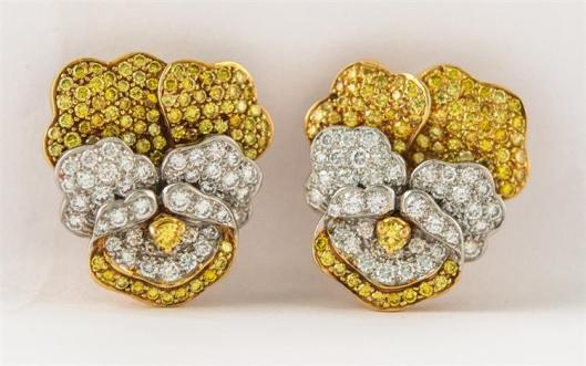 Platinum, Gold, Diamond, and Yellow Diamond Pansy Earclips, Tiffany & Company