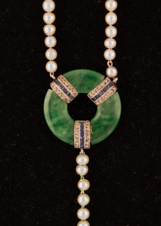 Platinum, Jadeite, Pearl, Diamond, and Sapphire Necklace3