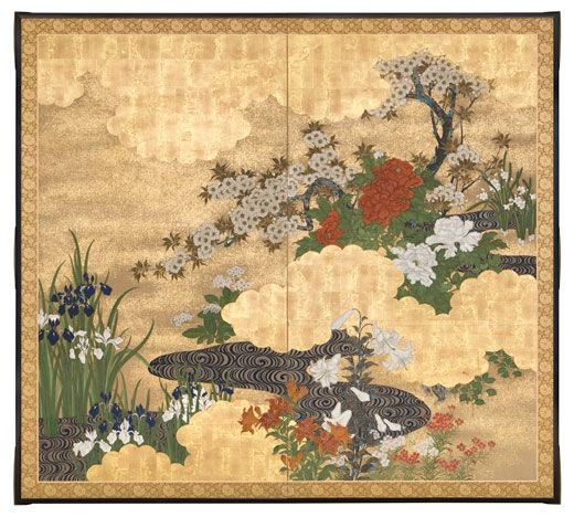 Rinpa School. Flowers of the Season by Meandering Stream. Japan, Meiji era