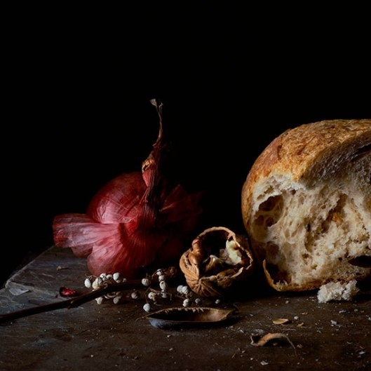 Still Life With Red Onion, Walnut and Bread, 2014