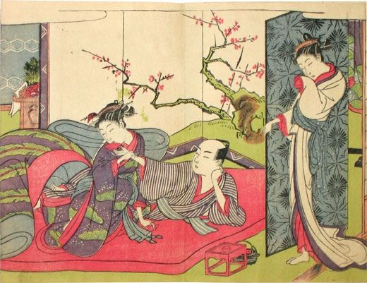 Suzuki Harunobu (ca. 1724-70). A beauty watching a couple drinking sake, from the The Spell of Amorous Love (Enshoku koi no urakata). Japan, circa 1766-70