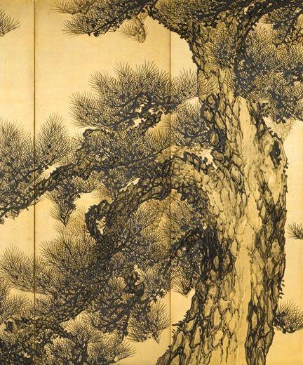 Suzuki Shônen (1849-1918). Pines (detail). Japan, Meiji era (1868-1912), circa 1910